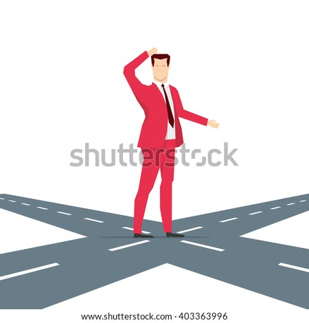 Red suit businessman thinking for choice. Vector concept illustration. - stock vector