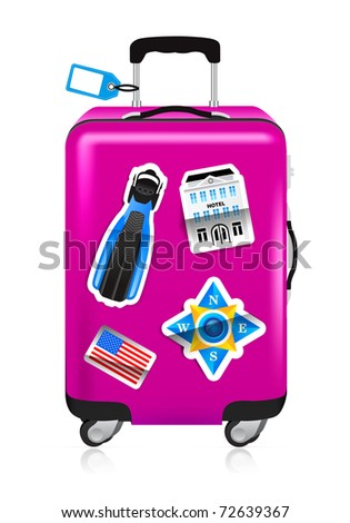 Red suitcase for travel with stickers - stock vector
