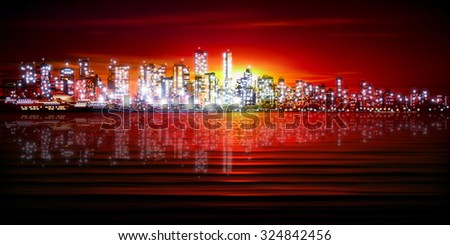 red sunset background with silhouette of city vector illustration - stock vector
