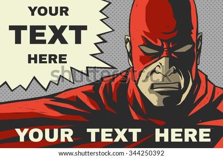 Red superhero. Speech bubble. Pop-art comic background - stock vector