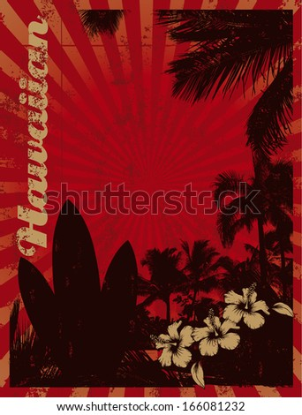red surf poster with palms and tables - stock vector
