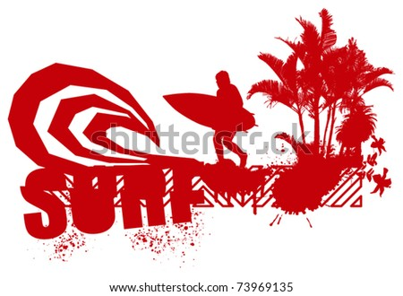 red surfer with big wave and palms - stock vector
