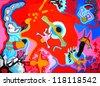red swimming, child, animals, paintings - stock photo