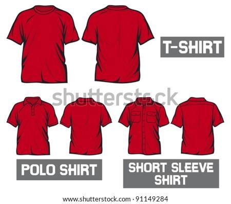 red t-shirt, short sleeve shirt and polo shirt - stock vector