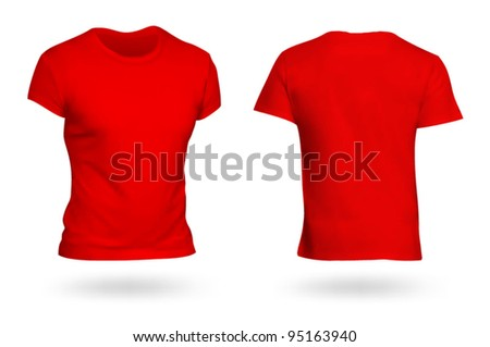 Red T-shirt template. Photo-realistic mesh design. - stock vector