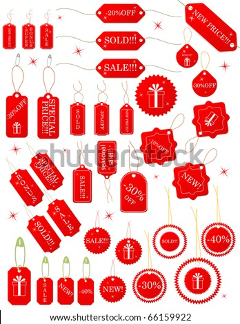 Red tags. Seasonal sale. Isolated over white. Vector - stock vector