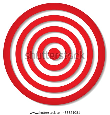 red target icon with drop shadow in circular design - stock vector
