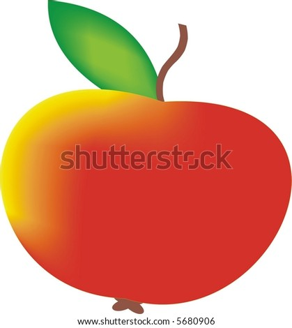 Red tasty apple with yellow side - stock vector