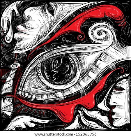 Red tears (Vector Art) - stock vector