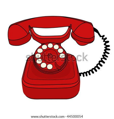 red telephone - stock vector