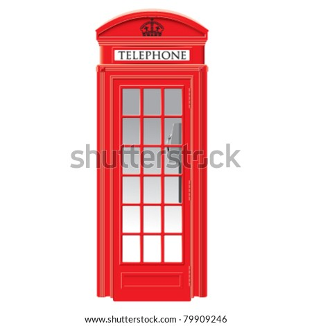 Red telephone box - London - very detailed  isolated vector illustration - stock vector