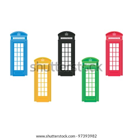 Red telephone boxes - London -  Olympic colors - stock vector