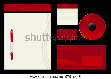 Red template vector background - blank, card, cd, note-paper, envelope, pen - stock vector