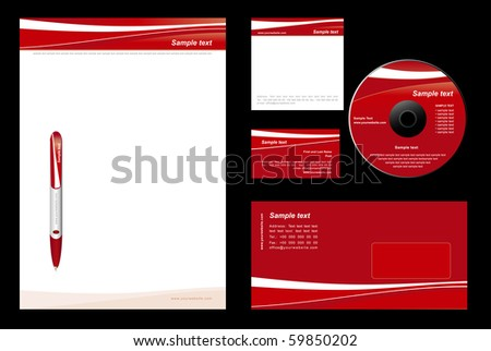 Red template vector background (blank, card, cd, note-paper, envelope, pen) - stock vector