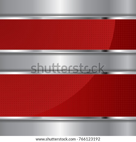 red textured banners on metal background