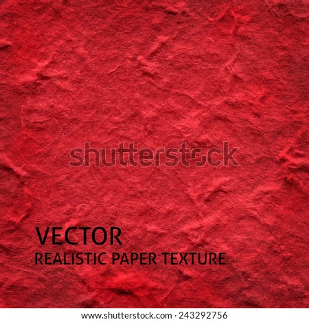Red textured paper vector background. Grunge paper texture. - stock vector