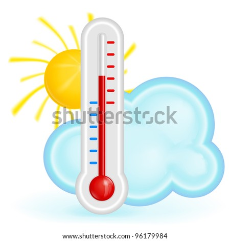 Red thermometer with sun and cloud vector