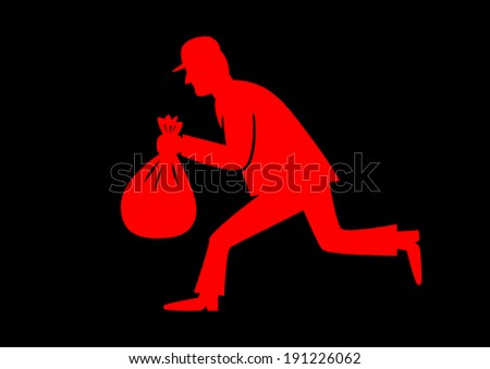 Red thief icon - stock vector
