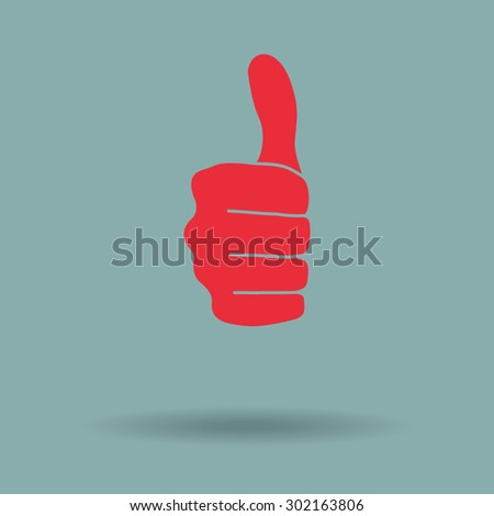 Red thumbs up icon