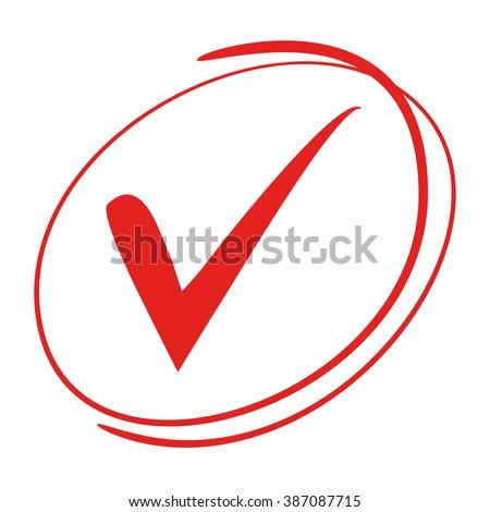 Red Tick Symbol Check Mark Stock Vector 387087715 Shutterstock