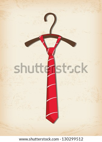 Red tie, father day greeting card - stock vector