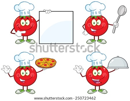 Red Tomato Cartoon Mascot Character Different Interactive Poses 1. Vector Collection Set Isolated On White - stock vector