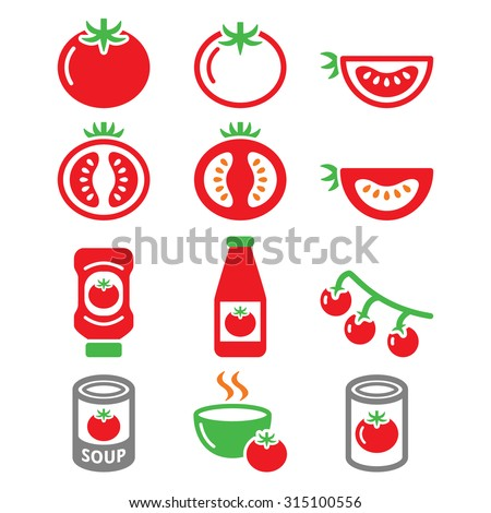 Red tomato, ketchup, tomato soup icons set  - stock vector
