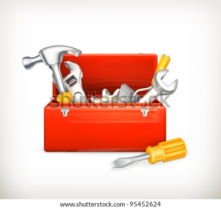 Red toolbox, 10eps - stock vector