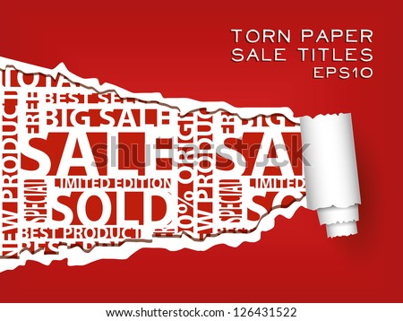 red torn paper with red sale titles - stock vector