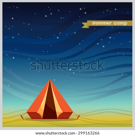 Red tourist tent on a night starry sky. Summer natural vector illustration. Space for text. - stock vector