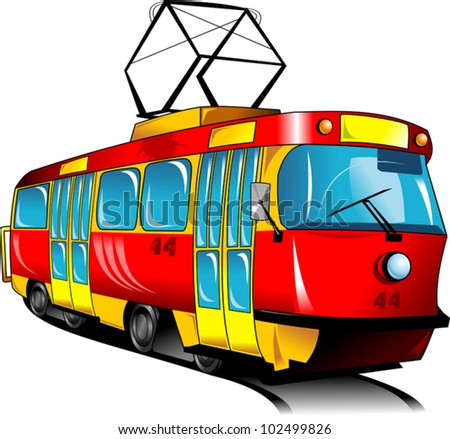 Red toy tram rides on rails (vector illustration); - stock vector