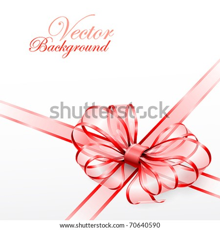 Red transparent bow isolated on white. Vector illustration - stock vector