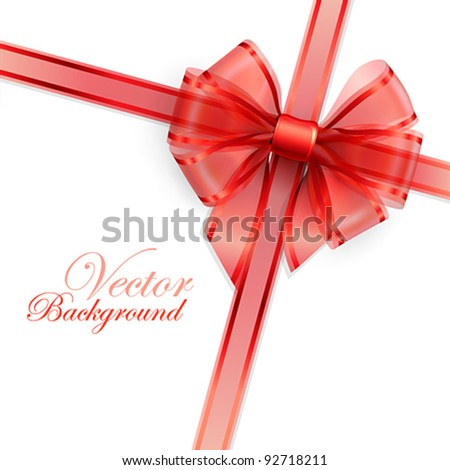Red transparent bow isolated on white. Vector illustration. - stock vector