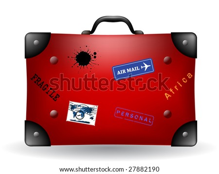 red travel suitcase - stock vector
