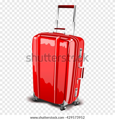 Red travel suitcase with a handle bar. Vector isolated luggage case - stock vector