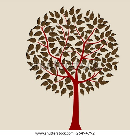red tree two - stock vector