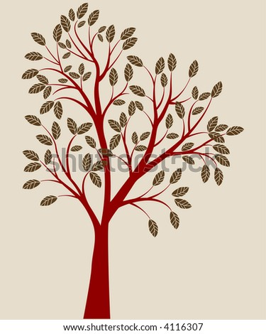 red tree vector - stock vector