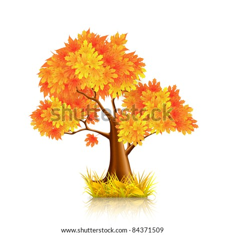 Red Tree, vector - stock vector