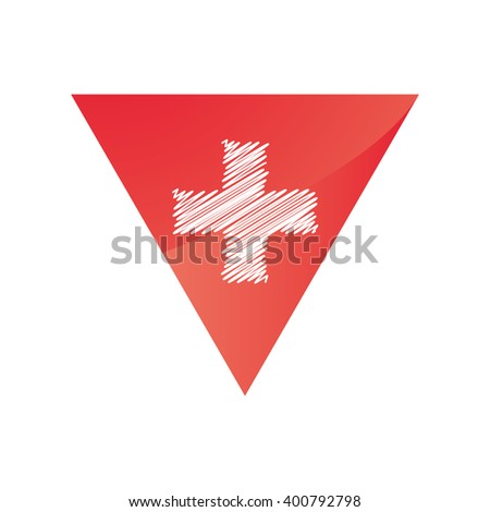 Red Triangle White Cross Middle Similar Stock Vector Royalty Free