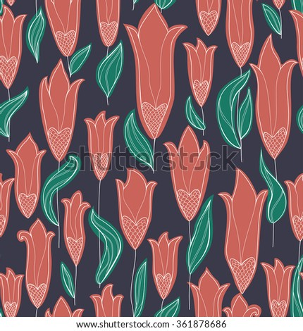Red Tulips Seamless Pattern - stock vector