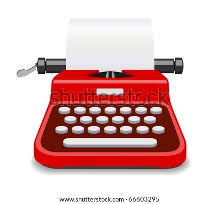 Red typewriter isolated vector - stock vector