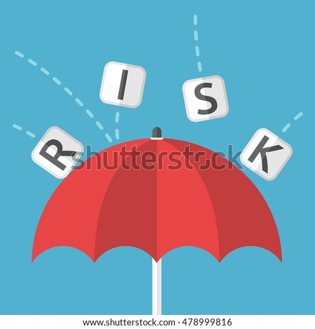 Red umbrella protects against risk on blue background. Protection, safety and danger concept. Flat design. Vector illustration. EPS 8, no transparency