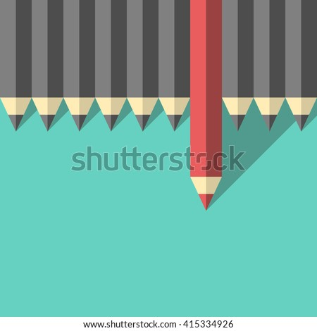 Red unique different pencil standing out from crowd of gray identical ones. Leader, leadership, individuality, ambition, uniqueness, success, business and courage concept. EPS 8 vector illustration - stock vector