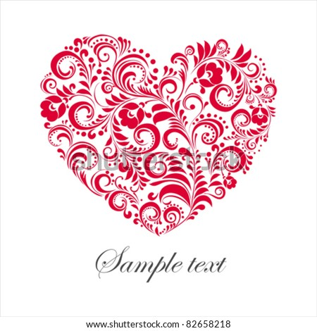 Red valentine heart in floral style isolated on White background. Vector illustration - stock vector