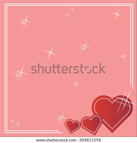 Red Valentine Hearts on pink background. - stock vector