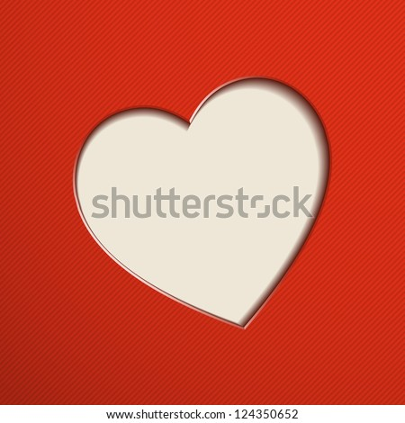 Red Valentine's Day background with heart. Vector illustration. - stock vector