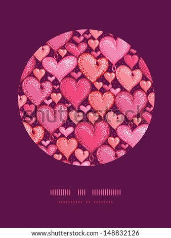 Red Valentine's Day Hearts Circle Decor Pattern Background - stock vector