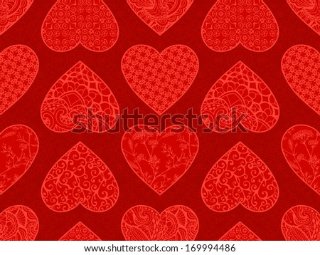 Red Valentine's pattern. Various vintage hearts on ornate background. Seamless pattern can be used for wallpapers, web page backgrounds or wrapping papers. Valentine's template. EPS 8..