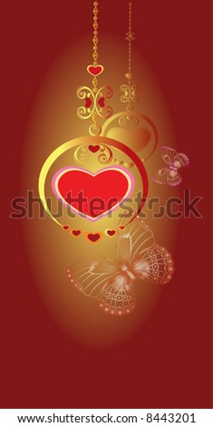 red valentines heart in locket - stock vector