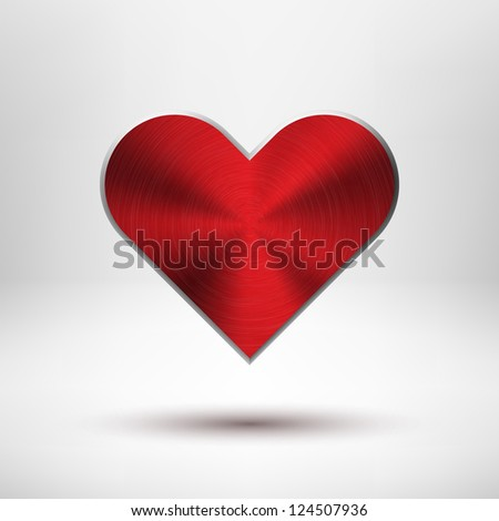 Red Valentines's day heart with metal (chrome, stainless steel, iron, silver) texture, light background and shadow for web sites, user interfaces (ui) and applications (apps). Vector illustration. - stock vector